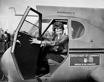 Amelia Earhart Photo, First Woman Pilot, Air Travel, Photo Print, Women's Rights, Women's Equality, Wall Art, Gift, For Her