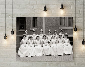 Old Providence RI Hospital Photo, Nurses, Historical Providence, Nurse Photos, Providence, Rhode Island Wall Decor, Home Decor, Black White