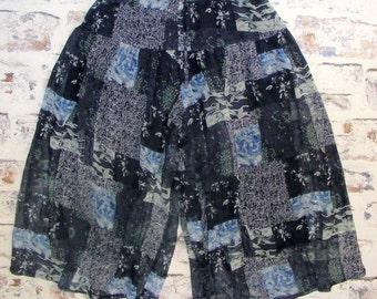 Size 10-12 hiwaist vintage 80s culotte trousers sheer dark blue patchwork (GJ13)