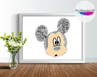 Personalise MICKEY MOUSE -  Gift - Custom Print - Word art - Disney - Personalisable - collage - Word art print - frame - unique - CANVAS