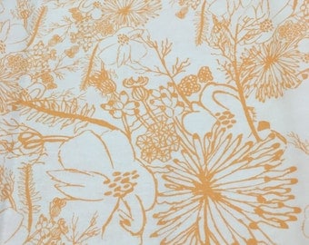 Orange and White Flower Fabric, Flower Fabric, Floral Fabric