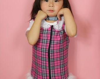 Handmade Pink Fleece tartan pinafore with cute contrasting collar and white fur trim