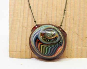 Red and multi-color hollow glass pendant- necklace