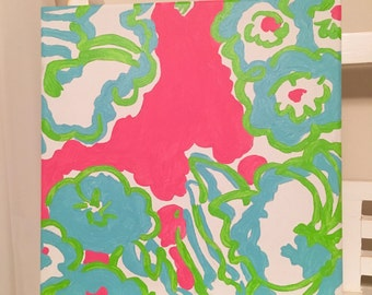 Pink a Delicacy Lilly Pulitzer Inspired 12 x 12 Handpainted Canvas