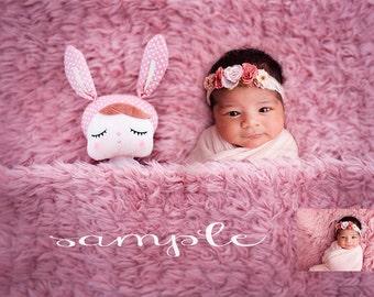 Newborn digital backdropf/pink blanket sleeping rabbit background