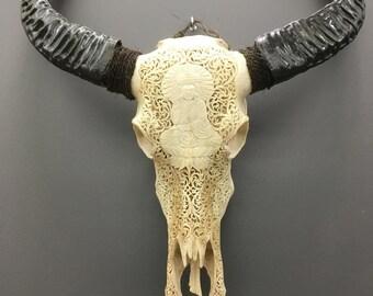 Hand-carved Buffalo skull - Buddha