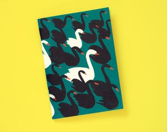 A6 note book blank swans petrol