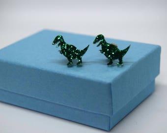 Emerald Glitter T-Rex Earrings, Handmade Ear Studs, Cute Stud Earrings, Cute Gifts, Dinosaur Jewellery