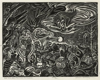 """CHARLES SURENDORF (American, 1906-1979), """"God Comes Down to Inspect His Creations"""", ca. 1935, linocut, pencil signed."""