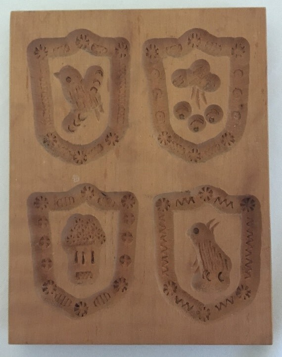 Springerle Vintage Hand-Carved Cookie/Paper Mold (East Germany) – Various Miniature Patterns