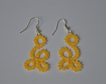 "Bobbin Lace Earrings ""Daisy""/ Handmade Bobbin Lace Jewelry/ Yellow Earrings"