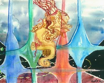 """Watercolor Painting """"Vision Quest"""" Original Artwork Mayan Art Work Contemporary Art Abstract Paintings for Sale Canvas Prints Watercolour"""