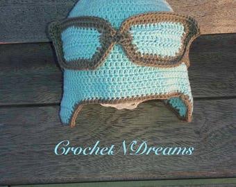 Baby hat,Baby crochet hat with headband, Mint&brown baby hat, Newborn shower gift, Aviator hat, Baby girl, Baby boy, Newborn Photo Prop