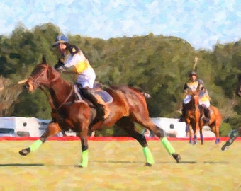 Landscape photography.  Digital oil file. Instant download. Horse Polo match in Ocala, Florida