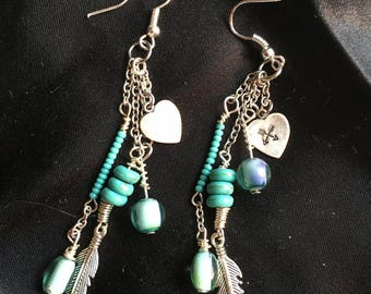 Boho turquoise hand stamped earrings