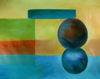 """Large abstract painting 77"""" x 58"""" Original wall cover"""