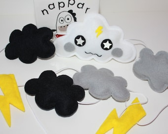 Funky Cloud and Lightning Wall Hanging