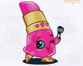 Shopkins Lippy Lip Beauty Machine Embroidery Design | 4x4 Hoop | 5x7 Hoop | 8x10 Hoop