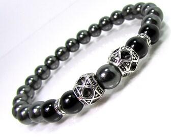 Onyx and Hematite Bracelet, Men Bracelet, Mens Gift, Mens Bracelet, Men Gemstone Bracelet, Men Bracelet, Gift for Him, Beaded Bracelet