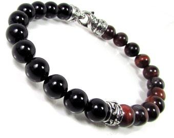 Red Tiger Eye and Onyx Bracelet  with Clasp, Mens Bracelet,Mens Gift,Gift for Men,Men Gemstone Bracelet + Gift Box