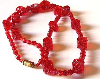 Art Deco Czech necklace red Glass Beads. Egyptian Revival.