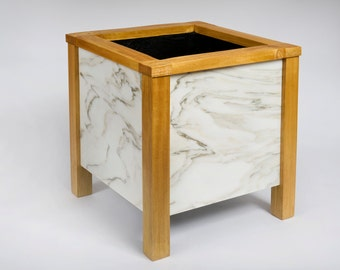 Arabascato Marble in Idigbo Hardwood Planter