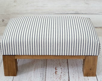Upholstered ottoman navy - small footstool - farmhouse decor - foot stool - ottoman - rustic furniture - rustic living room furniture - pouf
