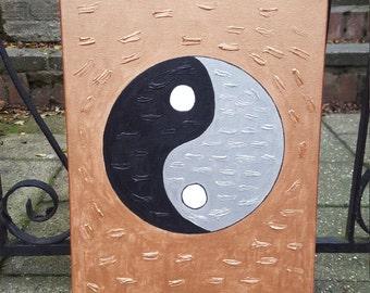Yin Yang wall art, Feng Shui wall art, Yin Yang art, Black and silver Yin Yang wall art,