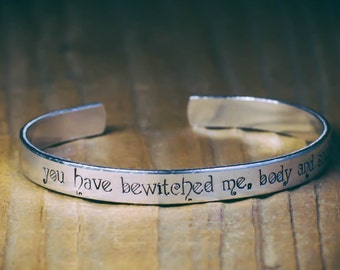 You Have Bewitched Me, Body And Soul / Romantic Jewelry / Romantic Gift / Pride And Prejudice Jewelry / Literary Jewelry / Literary Bracelet