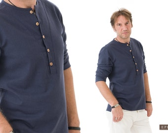 Linen Shirt Men- Bohemian Clothes for Men- Navy Blue Linen Clothing for Men-Valentines Gift for Him, for Husband, for Boyfriend-Gift for Dad