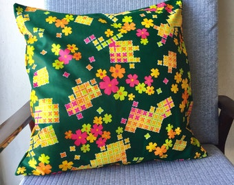 Vintage Brown Pink Orange and Yellow Square Flower Cushion Cover 18x18inch 45x45cm Cushion Throw Cover