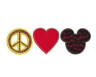 Mickey mouse applique digital embroidery , Heart applique , Peace embroidery , Machine embroidery design , Disney embroidery , Boy applique