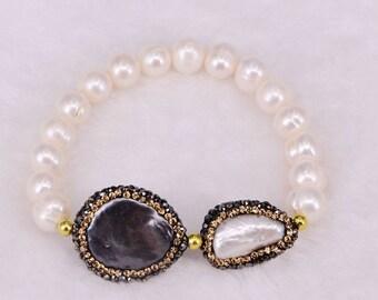 Druzy bracelet Natural pearl bracelet, rainbow abalone shell and fresh water pearl beads bracelet