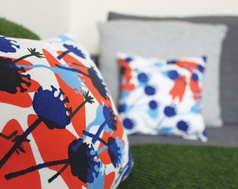 Orange & Blue Stem Hand Screen Printed Cushion - Small 10 x 10 inches