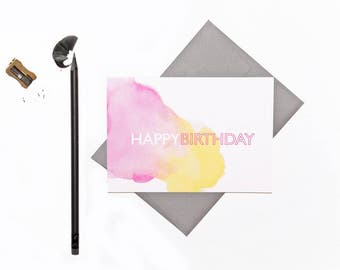 Birthday Card | Happy Birthday | Watercolour | Pink & Yellow