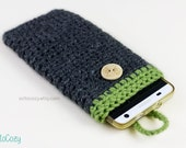 Handmade Crochet two-toned Phone Cover/Pouch with wooden button