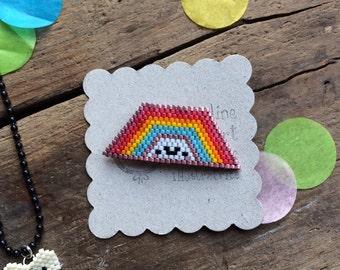 Rainbow beads Miyuki brooch