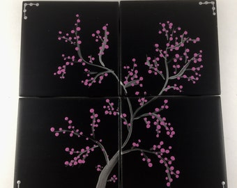"""Coasters, Cherry blossom, Black and pink, Coaster Set, 4.25"""" x4.25"""", Tree,Dots, Hand painted, Painted coasters, ceramic coasters"""