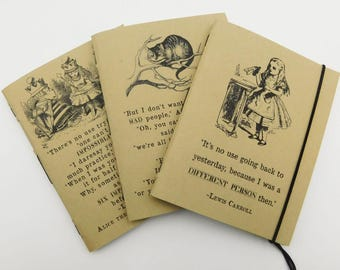 Kraft Notebooks, Pocket, Passport, Set of 3, Alice in Wonderland Notebooks, Quote Notebooks
