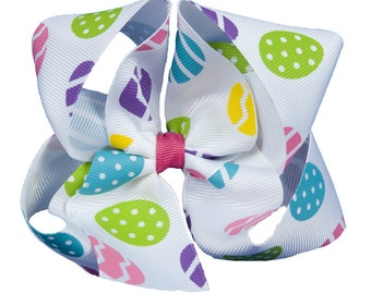 Easter Egg Hair Bow, Easter Eggs Green Yellow Pink Blue Purple -Girls Boutique Boutique Hair Bow