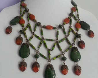 Green jasper, variscite and orange chrysocolla druid necklace, natural stones, gemstones, protection, healing