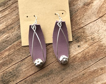 Lilac and Silver Earrings