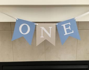 One Birthday Banner, First Birthday Banner, 1st Birthday Banner, Light Blue, Light Grey, Baby's First Birthday, Photo Prop, Cake smash