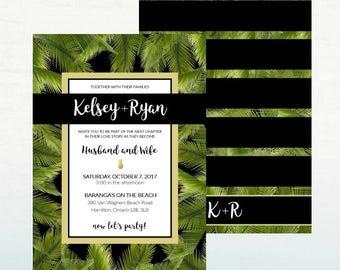 Tropical Wedding Invitation, Destination Wedding, Tropical Wedding, 5x7 DIGITAL DOWNLOAD