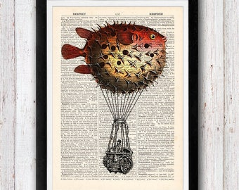Puffer Fish Hot Air Balloon Vintage Upcycled page /  Dictionary Pages Vintage Book Print