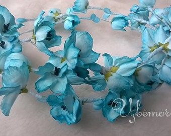 Sky blue flower wreath, hair garland, bridal hair acessories, flower wreath, wedding headpiece, fantasy flower, bridal hair flower wreath