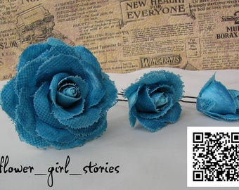 Set of 3 hairpins with blue roses, For jeans clothes, For jeans style, artificial flowers, Hair Accessories,