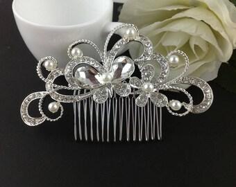 Crystal Rhinestone Pearl Bridal Comb,Wedding Hair Comb,Bridal Accessories,Butterfly comb,Bridesmaid hair comb