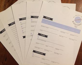 Knitting Project Tracker - Printable Worksheet