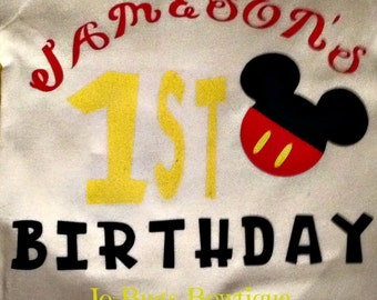 Mickey Mouse inspired birthday shirts for child and parents